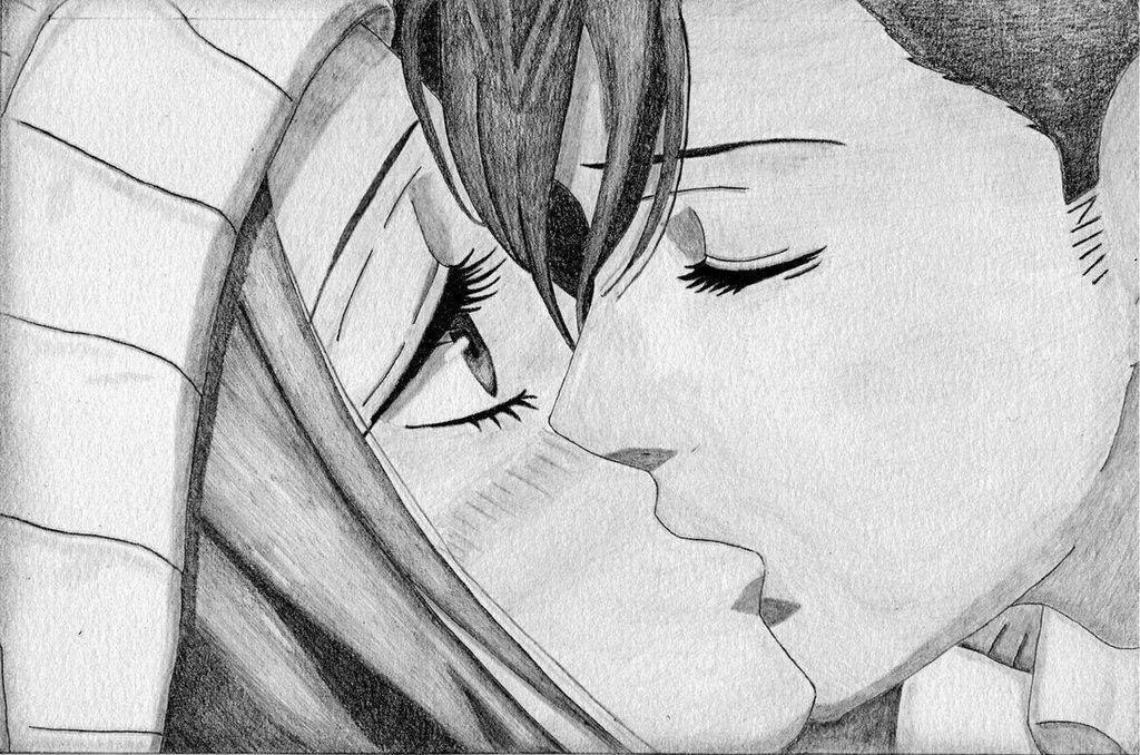 Карандаш поцелую рисует