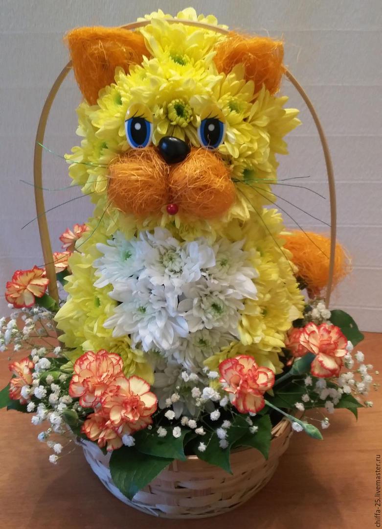 Кот из живых цветов своими руками 76